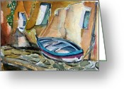 Row Boat Mixed Media Greeting Cards - Italian Riviera Greeting Card by Mindy Newman