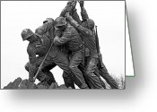 Flag Raising Greeting Cards - Iwo Jima Memorial in Arlington Virginia Greeting Card by Brendan Reals