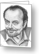 Famous People Drawings Greeting Cards - Jack Nickolson  Greeting Card by Murphy Elliott