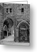 Old Street Drawings Greeting Cards - Jerusalem old street Greeting Card by Marwan Hasna - Art Beat