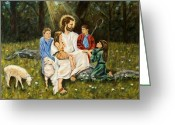 Religious Artwork Painting Greeting Cards - Jesus and the Children Greeting Card by Sharon Clossick