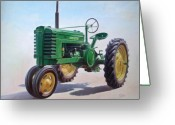 Wheels Greeting Cards - John Deere Tractor Greeting Card by Hans Droog