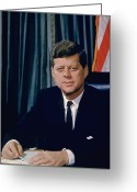 American History Painting Greeting Cards - John F. Kennedy Greeting Card by War Is Hell Store