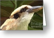Gaze Mixed Media Greeting Cards - Kookaburra Greeting Card by Chris Butler