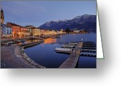 Christmas Lights Greeting Cards - Lake Maggiore - Ascona Greeting Card by Joana Kruse