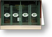 Murals Greeting Cards - Lambeau Field - Green Bay Packers Greeting Card by Frank Romeo