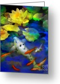 Koi Ponds Greeting Cards - Last rays of the sun Greeting Card by Gina Signore
