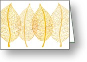 Color Image Painting Greeting Cards - Leaves Greeting Card by Frank Tschakert