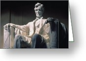Lincoln Memorial Photo Greeting Cards - Lincoln Memorial: Statue Greeting Card by Granger
