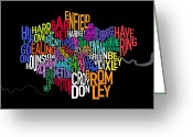 Typography Greeting Cards - London UK Text Map Greeting Card by Michael Tompsett