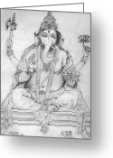 Lord Ganesha Drawing Greeting Cards - Lord Ganesha Greeting Card by Tanmay Singh
