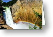 Landscape Photographs Greeting Cards - Lower Falls Rainbow Greeting Card by Greg Norrell