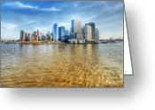 Blue Blocks Greeting Cards - Manhattan Greeting Card by Svetlana Sewell