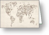 World Map Canvas Greeting Cards - Map of the World Map Floral Swirls Greeting Card by Michael Tompsett