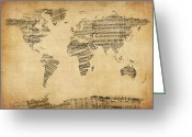 Sheet Music Digital Art Greeting Cards - Map of the World Map from Old Sheet Music Greeting Card by Michael Tompsett