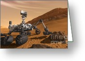 Spacecraft Greeting Cards - Mars Rover Curiosity, Artists Rendering Greeting Card by NASA/Science Source