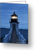 Lit Greeting Cards - Marshall Point Light Greeting Card by John Greim