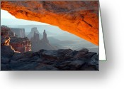 Road Trip Greeting Cards - Mesa arch sunrise in Canyonlands National park Greeting Card by Pierre Leclerc