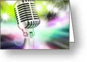 Live Music Greeting Cards - Microphone On Stage Greeting Card by Setsiri Silapasuwanchai