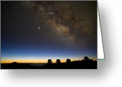 Observatories Greeting Cards - Milky Way And Observatories, Hawaii Greeting Card by David Nunuk