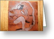 Uganda Pottery Ceramics Greeting Cards - Mirabel - tile Greeting Card by Gloria Ssali