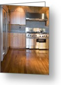 Cupboards Greeting Cards - Modern Kitchen Greeting Card by Andersen Ross