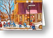 Hockey On The Streets Of Montreal Greeting Cards - Montreal Paintings Greeting Card by Carole Spandau