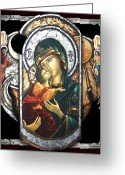 Icon Byzantine Greeting Cards - Mother of God Greeting Card by Iosif Ioan Chezan