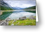 Rockies Greeting Cards - Mountain lake in Jasper National Park Greeting Card by Elena Elisseeva