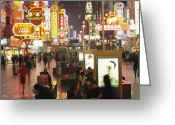 Asian Architecture And Art Greeting Cards - Neon Signs In Nanjing Lu, Shanghais Greeting Card by Justin Guariglia