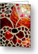 Cities Glass Art Greeting Cards - New Orleans Greeting Card by Ted Hebbler