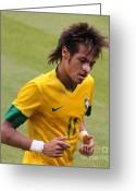 Kicking Football Greeting Cards - Neymar Junior Greeting Card by Lee Dos Santos