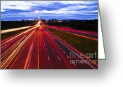 Busy City Greeting Cards - Night traffic Greeting Card by Elena Elisseeva