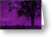 Rural Art Greeting Cards - Nightfall Greeting Card by Bonnie Bruno