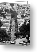 Hill Photographs Greeting Cards - Noe Street in San Francisco 2 Greeting Card by Wingsdomain Art and Photography