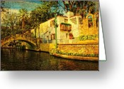 Riverwalk Greeting Cards - Nostalgia Greeting Card by Iris Greenwell