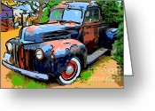 Ford Truck Greeting Cards - Nostalgic Rusty Old Truck . 7D10270 Greeting Card by Wingsdomain Art and Photography