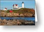 Cape Greeting Cards - Nubble Lighthouse Greeting Card by John Greim