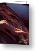 Bathe Greeting Cards - Nude Woman Lying on Rocks by the Water Greeting Card by Oleksiy Maksymenko
