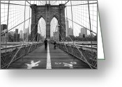 Empire Greeting Cards - NYC Brooklyn Bridge Greeting Card by Nina Papiorek