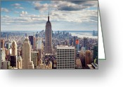 Urban Photo Greeting Cards - NYC Empire Greeting Card by Nina Papiorek