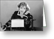 Typewriter Greeting Cards - OFFICE SCENE, 1920s Greeting Card by Granger