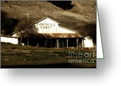 Old Farms Greeting Cards - Old Foothill Farms in Small Town of Sunol California . 7D10796 Greeting Card by Wingsdomain Art and Photography