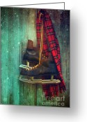 Antique Skates Greeting Cards - Old ice skates hanging on barn wall Greeting Card by Sandra Cunningham