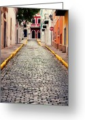 Brick Streets Greeting Cards - Old San Juan Puerto Rico Greeting Card by Kim Fearheiley