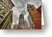 Boston Massachusetts Skyline Skyscrapers Building Office Towers Structures Water Harbor Harbour Reflect Reflection Reflecting Sea Bay Rowes Wharf Tall  Waterfront Day Daytime City Urban New England Greeting Cards - Old South Meeting House Greeting Card by Joann Vitali