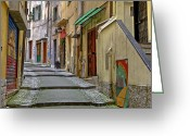 Passage Greeting Cards - Old town of Sanremo Greeting Card by Joana Kruse