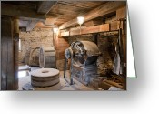 Mill Stone Greeting Cards - Old Windmill Interior Greeting Card by Jaak Nilson