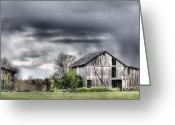 Wooden Barns Greeting Cards - Ominous  Greeting Card by JC Findley