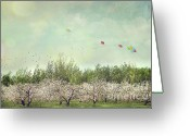 Plenty Greeting Cards - Orchard of apple blossoming tees Greeting Card by Sandra Cunningham